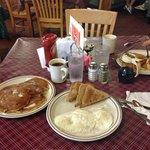 cornmeal pancakes and eggs