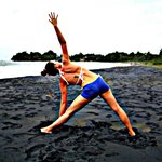 Yoga on the black sand beach