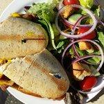 BBQ Beef Brisket Sandwich and Garden Salad