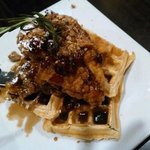 Chicken and waffles, with pecans, dried cranberries and a balsamic maple syrup!