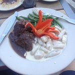 Braised short ribs with green beans and gnocchi