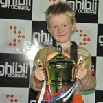Youngest son on the podium with trophy