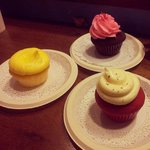 Gritty frosting on lemon and peppermint cupcakes, greasy frosting on red velvet.