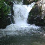 Waterfall close to mountain