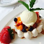 Meringue with Vanilla Ice Cream and Summer Fruits - yummy!