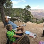Dora (on right) discussing canyon geology