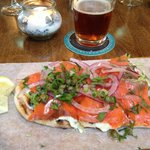 Salmon flatbread. Incredibly delicious!!