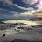 snow landing with awesome views of Lake Wanaka under a cloud blanket