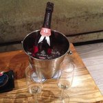 Complimentary celebratory bubbles...