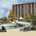 hotel stay includes access to nearby water park within walking distance along the boardwalk