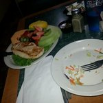 Tonys Lighter Fare - Salad gone, but next up chicken and fruit plate!