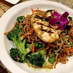 Grilled ono with chow mein noodles and vegetables