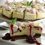 Black cherry and marshmallow cheese cake