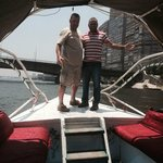 Ahmed and me on the River Nile boat journey to the restaurant