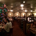 Pete and Sam's Dining Room.....with Christmas tree decorated for Fourth of July
