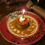 Complimentary anniversary cake at Puerto Madero, Cancun