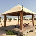 Beach cabana without curtains, mattresses or towels