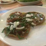 no skin cooked tomatoes with basil and onions