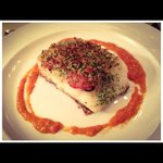 Herb crusted cod fillet with mojo picon