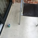Sprite can with discarded cigarette butts left on patio by prior guests.
