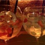 Lemonpeel and strawberry vodka with pink lemonde