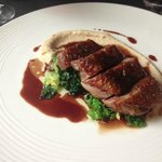 Duck breast with white bean puree