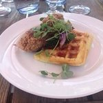 Coconut Chicken with Cornmeal Waffles