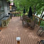 Large back deck with commercial grade cook top and gas grill
