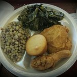 Fried Chicken,  Black Eyed Peas & Greens
