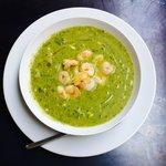 Courgette soep met gamba's