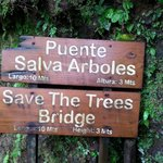 Sign at 1 of the 6 swinging bridges on our tour.
