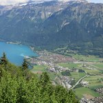 A view of Interlaken and Lake Brienz from the Harder Kulm.