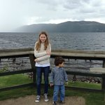 My kids at Loch Ness,  Looking for Nessie