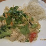 Chicken with coconut zing sauce and rice jasmine