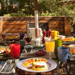 Patio seating for gourmet breakfast