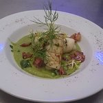 Speciale casa: Calamari starter with peas and bacon