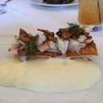 Breaded trout Pontchatrain with crab and wild mushrooms and  a whipped lemon butter sauce