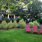 There are lots of chairs and rockers on the porch and grounds to lounge in.