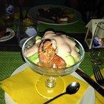 Gamberoni con avocado