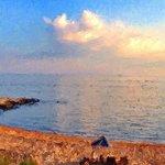 Sun setting at the MBH beach- photo glaze app.