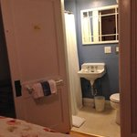 Bathroom, shower curtain on left, toilet on right