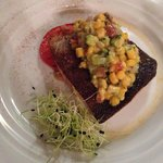 Sea trout with corn and avocado relish