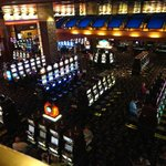 a view of the slots from the escalator