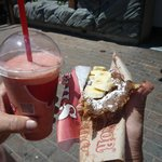 Strawberry smoothy and nuttella and banana beavertail