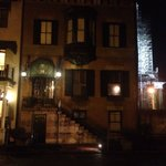 The front entrance of the B&B at night.