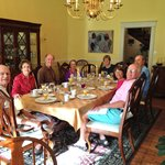 Breakfast with new friends, what we like most about B&Bs