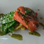 Salmon special with glazed snow peas, summer squash and fennel