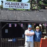 Entrance to the mine, wearing our helmets!