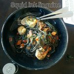 Squid ink linguine with seafood. I enjoyed this very much. Spicier than it looks, too.