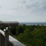 View of Mackinac Island in the distance from atop the tower!